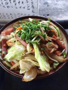 沖縄県備瀬先のフクギ屋さんで野菜沖縄そば