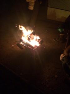 定山渓自然の村キャンプ場での焚き火