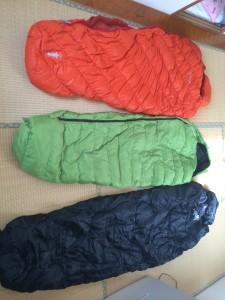 寝袋の大きさ比較