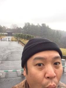 皇居の前で自撮り