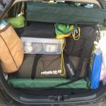 コンパクトカーでもフィット・ハイブリッドならキャンプ道具もたくさん積める!