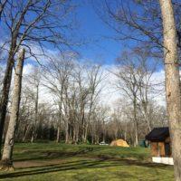 北海道夕張郡由仁町にある古山貯水池自然公園オートキャンプ場の朝