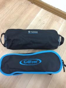 ヘリノックスチェアとG4freeの収納袋の比較