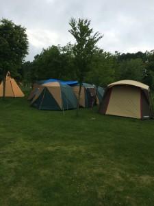 北海道安平町鹿公園でのキャンプは雨模様