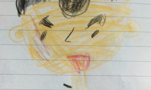 うちの娘が書いたハゲ父の似顔絵