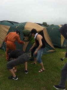 京極キャンプ場で暴風雨
