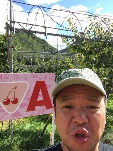 果物狩りに来たキャンプ王編集長