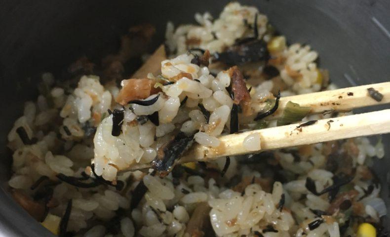 モンベルのクッカーで作った炊き込みご飯は美味しい!