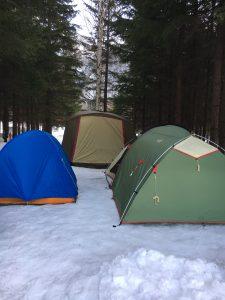 定山渓キャンプ場で冬キャンプ
