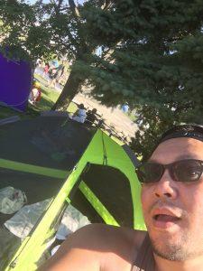 キャンプ王の自撮り