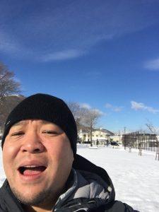 キャンプ王冬の自撮り
