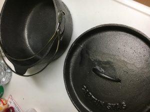 ダッチオーブンの乾燥