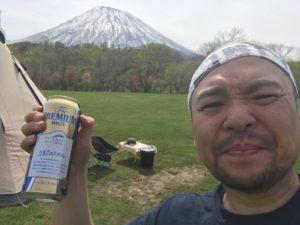 京極キャンプ場で乾杯